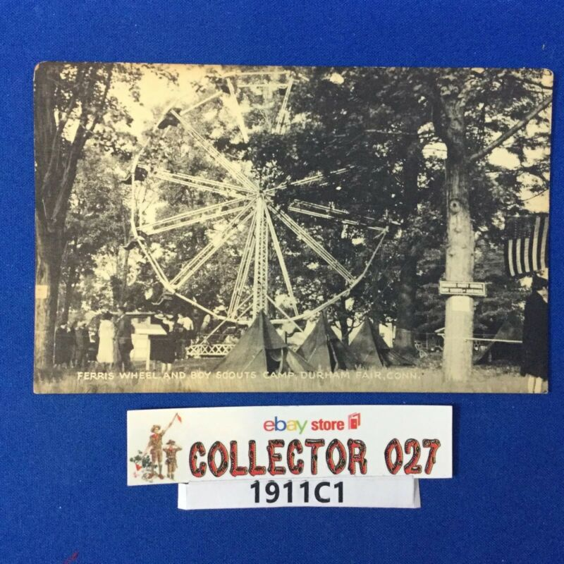 Boy Scout Vintage Postcard Camp Durham Ferris Wheel Conn.