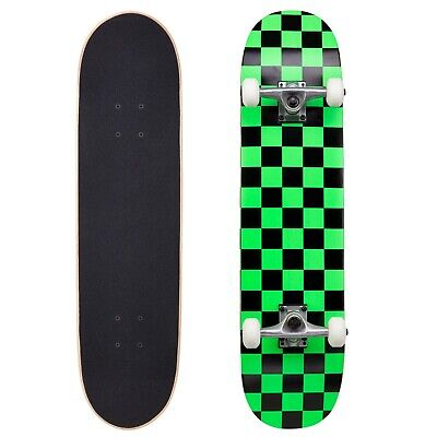 Cal 7 Checker Green Complete Popsicle Skateboard,8 Inch, Gifts for Skateboarder