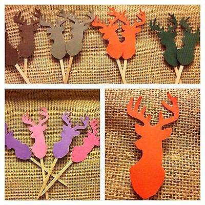 Deer Head Mount Cupcake toppers Picks For A Hunting Themed Party Boy Or Girl - Themes For A Girl Birthday Party