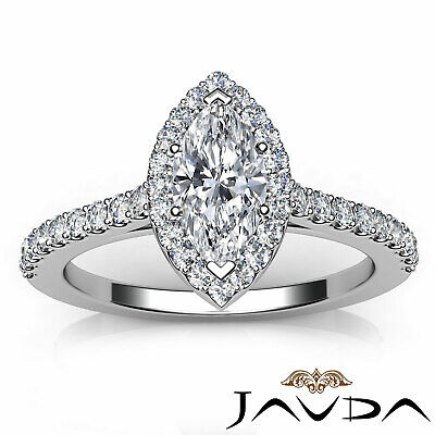 Halo French Pave Set Marquise Diamond Engagement Anniversary Ring GIA H VS1 1Ct 10