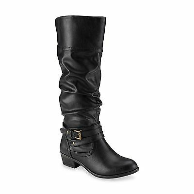New Women's Bongo Peyton Slouch Knee High Pull On Fashion Boot 20408 Blk 11K