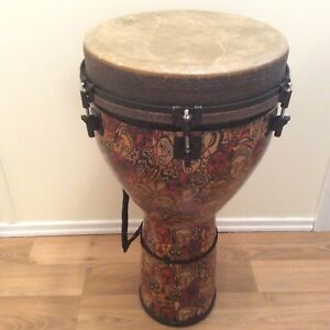 Remo Djembe with soft shell carrying case and stand