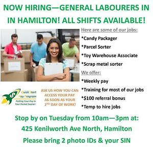 WALK INTO OUR OFFICE MONDAY FOR A GREAT GENERAL LABOUR JOB!