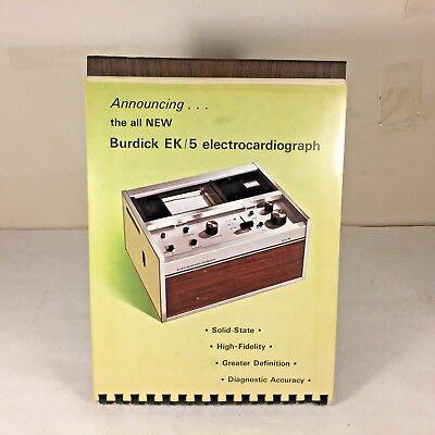 Vtg Burdick Electrocardiograph Ek5 Ekg Ecg Machine Salesman Folder Stand Book