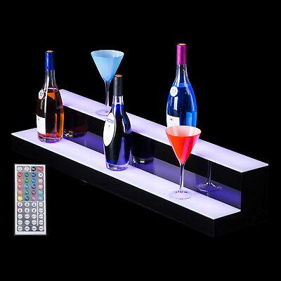 40 2 Step Tier Led Lighted Shelf Illuminated Liquor Bottle Bar Display Stand