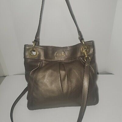 17605 COACH Ashley Leather Crossbody Shoulder Bag Metallic Ash Bronze Purse
