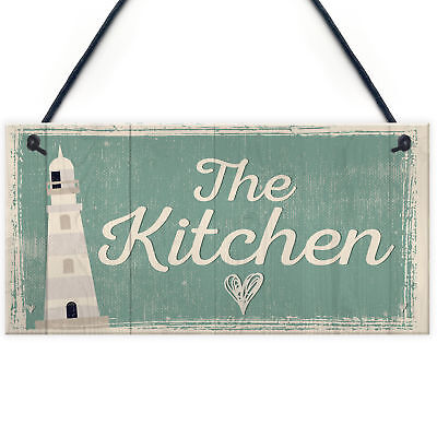 The Kitchen Hanging Plaque Seaside Nautical GIFT Shabby Chic Vintage House Sign