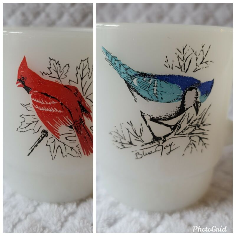 Fire King Birds Mug Cardinal and Blue Jay