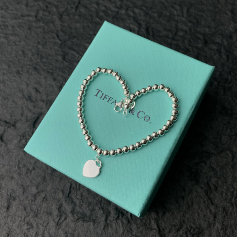 Tiffany & Co. Bead Bracelet with Silver Heart Free Shipping!