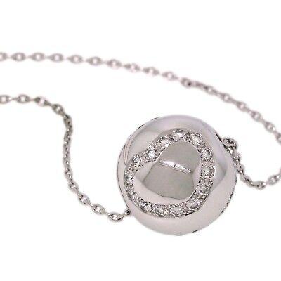Chopard 18K White Gold Diamond 3 Heart Ball Pendant Chain Necklace