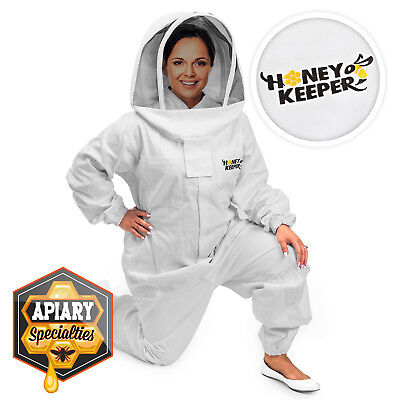 Professional Cotton Full Body Beekeeping Suit W Supporting Veil Hood - Large