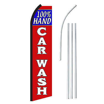 Car Wash Banner Sign Flag Pole Only Advertising Swooper Feather Hand Display