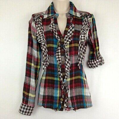 Button Raw Edge - Daytrip Button Shirt Ruffled Raw Edge Multi-Color Plaid Roll Tab Sleeve Size S