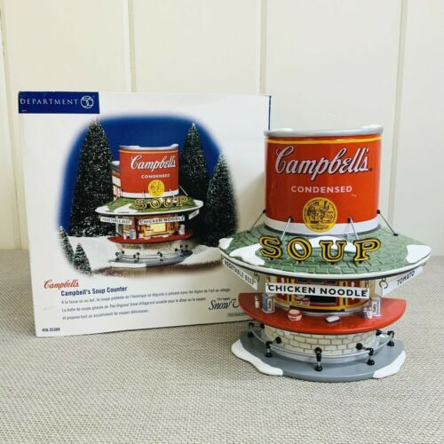 DEPT 56 SNOW VILLAGE Lighted Campbell's Soup Counter Restaurant #55309 2002 MIB