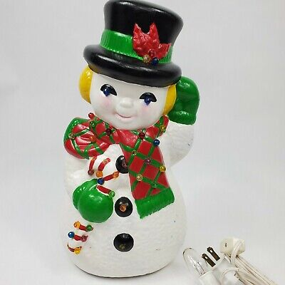 "Vintage Ceramic Hand Painted Snowman Lights Up 11.5"" Christmas Lighted"