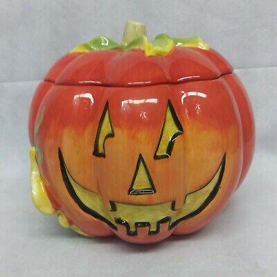 Jack o Lantern Carved Pumpkin Cookie Jar Ceramic CIC Certified International
