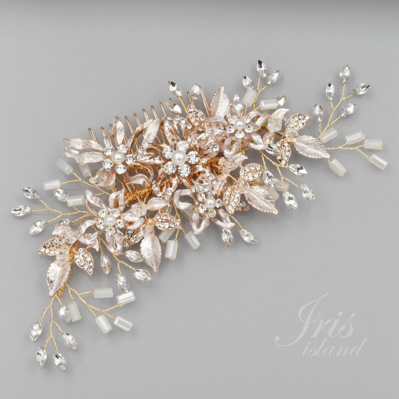 Bridal Hair Comb Pearl Crystal Headpiece Clip Pin Wedding Accessories 8170 Gold