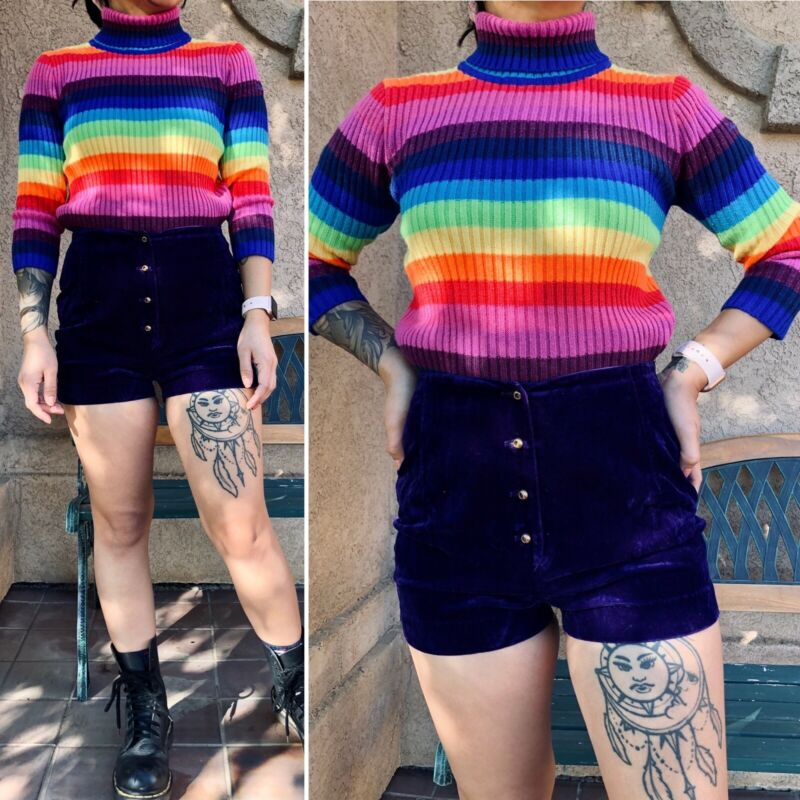 Vintage RARE 90s Lisa Frank Official Ribbed Turtleneck Rainbow Striped Sweater