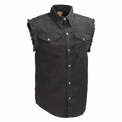 Men's Black Lightweight Sleeveless Denim Shirt - 100% Cotton 8oz- Button Front