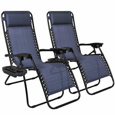 Zero Gravity Chairs Patient Of (2) Lounge Patio Chairs Outdoor Yard Beach Navy Blue