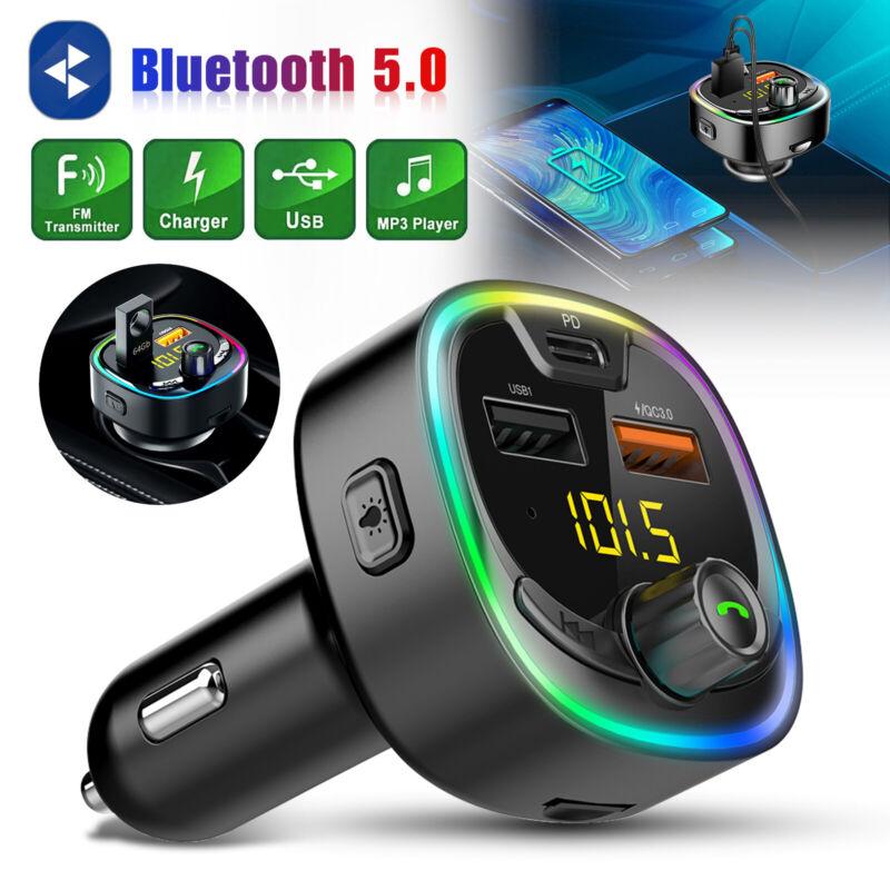 Bluetooth 5.0 FM Transmitter MP3 Wireless Adapter 2 USB Charger Radio MP3 Car