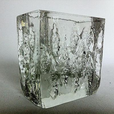 IG  INGRID GLAS Kristall SOLIFLEUR Vase Blockkristall 8 cm 70er POP ART