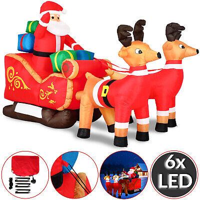 Babbo Natale gonfiabile XXL gigante con slitta e renne luci LED addobbi natalizi