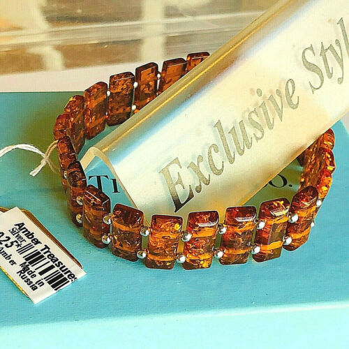 100% Genuine Russian Baltic Amber Bracelet Vintage Butterscotch Egg Yolk Polish