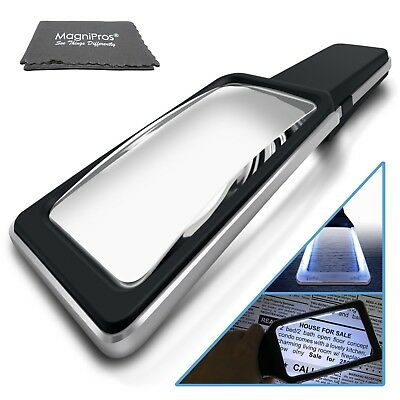3X Large Reading Handheld Magnifying Glass with 10 Anti-Glare Dimmable LEDs