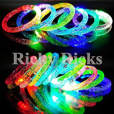 100 PCS Light-Up Acrylic Bracelets Wristbands LED Flashing Glow Rave EDC - Glow Stick Wristbands