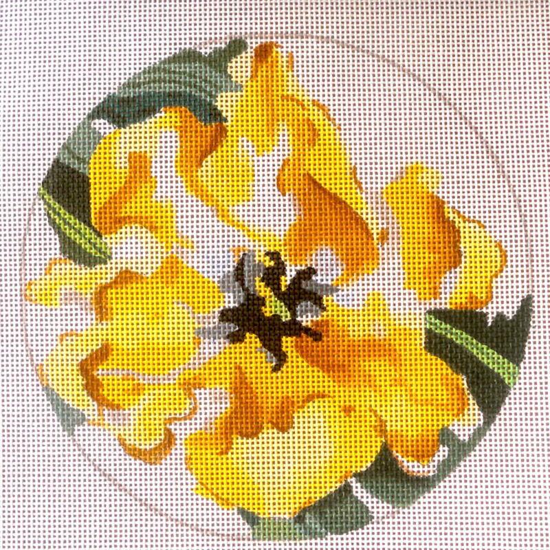 Handpainted Needlepoint Canvas Yellow Parrot Tulip by  Joy Juarez