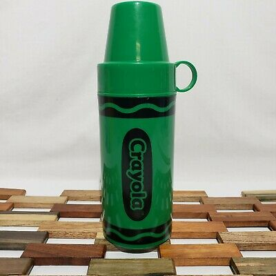 Green Crayola Crayon Thermos Plastic Insulated Cup 2007 Holds 11.5oz