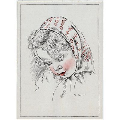Künstler-AK v. M. Godon / Kinder, Mädchen mit Kopftuch