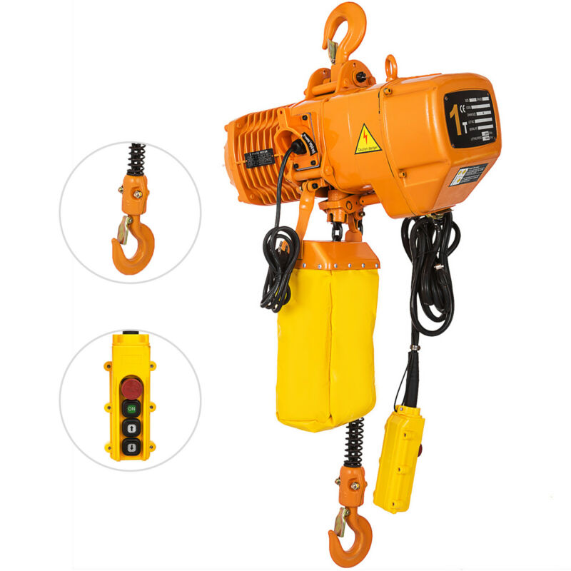 VEVOR Electric Chain Hoist Single Phase Hoist Crane 2200lbs/1t, 10ft Chain, 110V