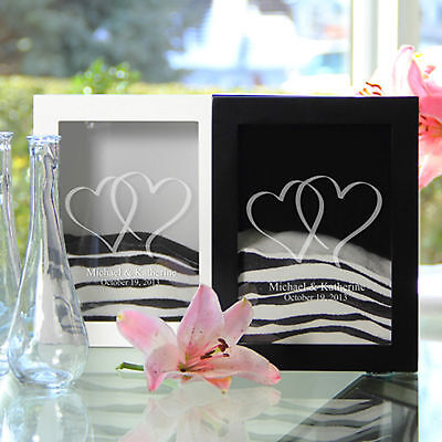 Personalized Linked Hearts Unity Sand Shadow Box & 2 Pouring Vase BLACK ONLY (Unity Sand Shadow Box)
