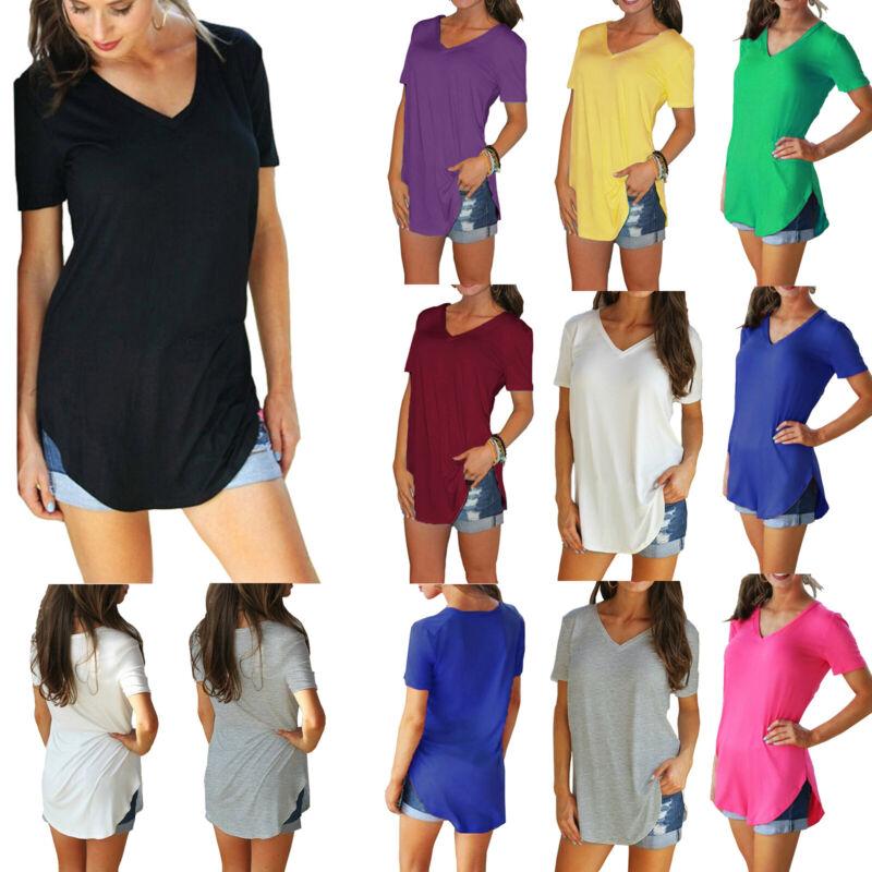 Plus Size Womens Short Sleeve V Neck Longline Blouse Ladies Casual T Shirt Tops