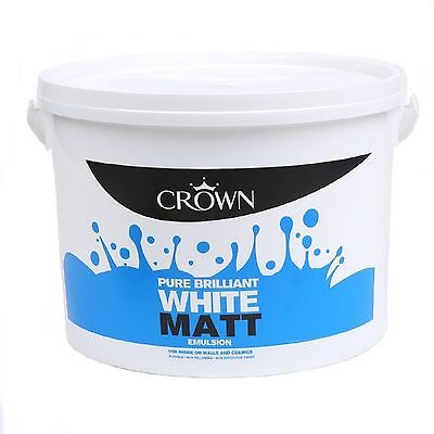 Crown Matt Emulsion Pure Brilliant White Wall & Ceiling Paint 7.5L