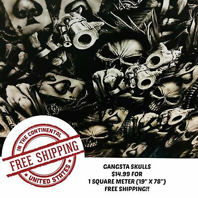 Hydrographic Water Transfer Hydrodipping Film Hydro Dip Gangsta Skulls 1sq