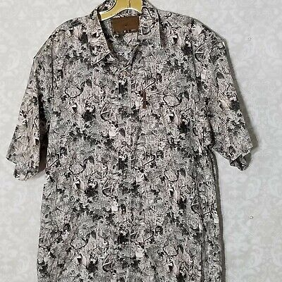 North River Outfitters Men's Button Down Shirt Large Short Sleeve Hunting Deer - Short Sleeve Deer