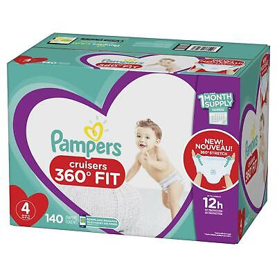 Diapers Size 4, Count 140-Pampers Cruisers 360 Fit Comfort Baby NEW