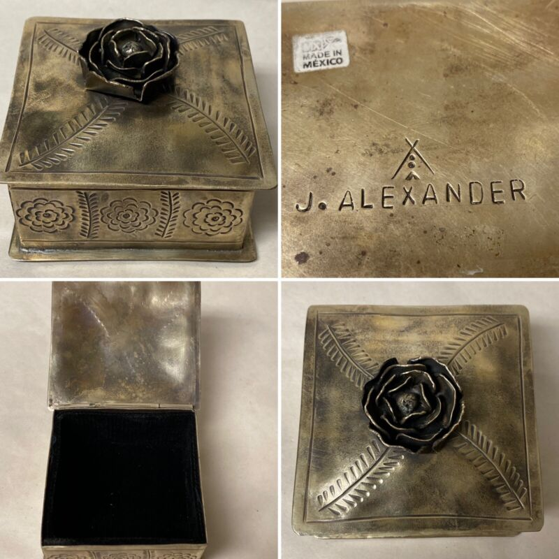 """J ALEXANDER RUSTIC NICKEL SILVER 4"""" SQUARE HINGED BOX W/ ROSE HAND TOOLED MEXICO"""