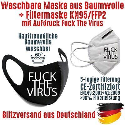 Fashion Mask Baumwolle waschbar plus FFP2 KN95 Mundmaske Fuck The Virus bedruckt