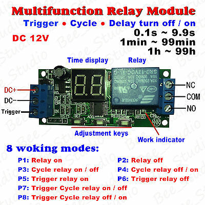 Dc 12v Multifunction Trigger Infinite Cycle Time Delay Timing Timer Relay Switch