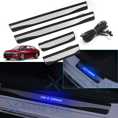 Blue Illuminated LED Door Sill Scuff Plate Guard For Honda Accord 2018 2019 2020