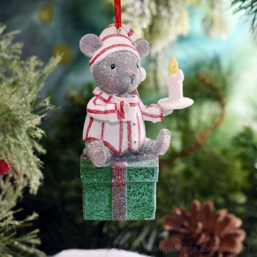 Mouse with Drink Christmas Ornament Tree Decoration