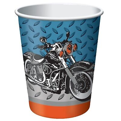 Motorcycle Cups Paper Party 8 ct  Birthday Party Favor Party - Motorcycle Birthday Supplies