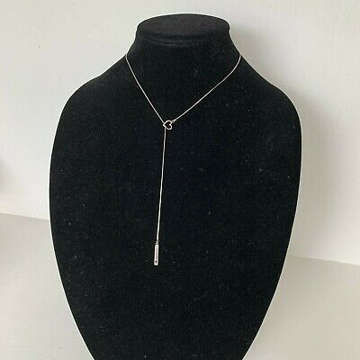 Sterling Silver Choker Chain Y Necklace Lariat with Dainty Delicate Heart Charm