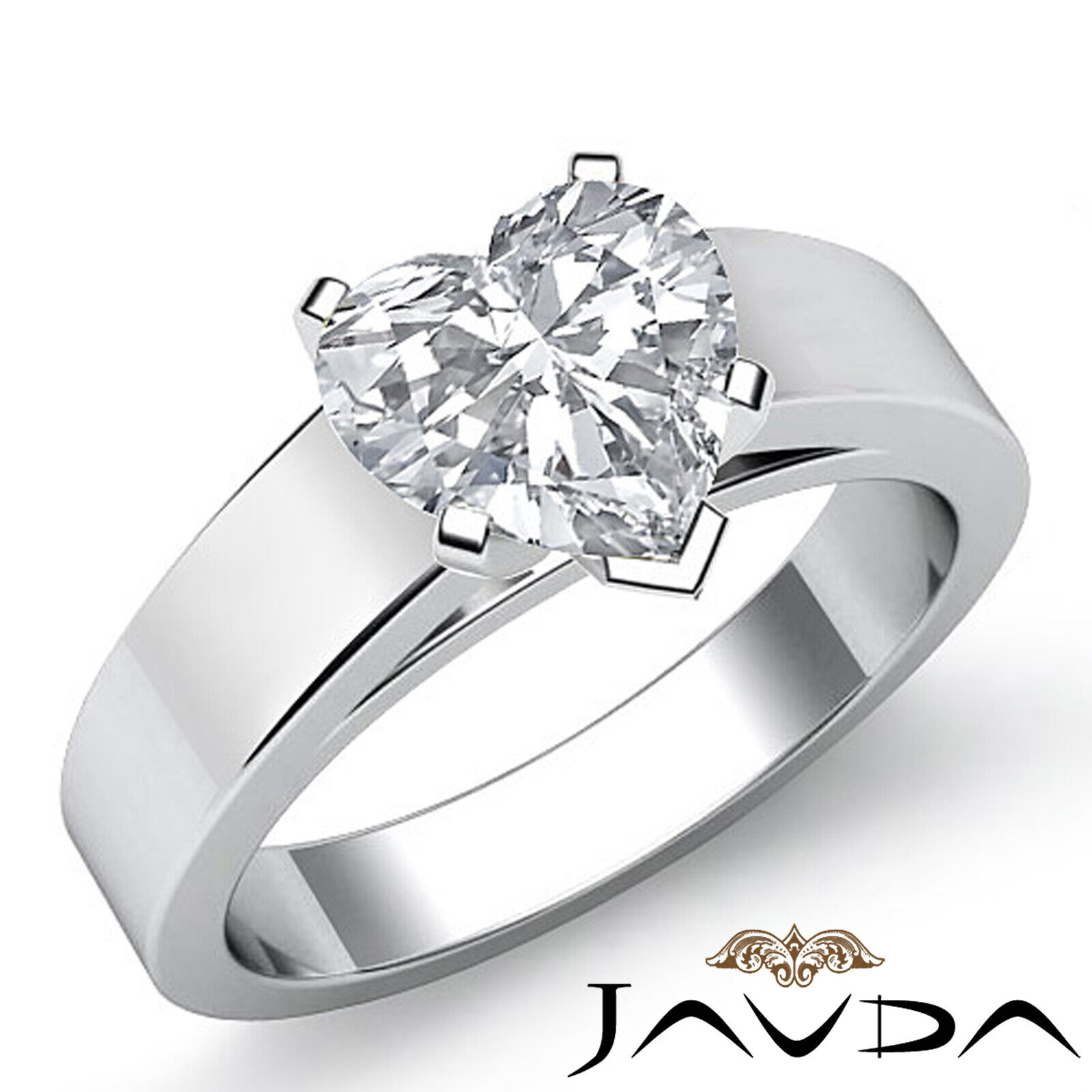Heart Diamond Engagement GIA, H  VS2 Gold Ring Flat Cathedral Solitaire 1.20 ct.