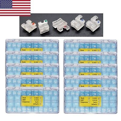 10 Boxes Dental Orthodontic Ceramic Bracket Mini Roth 022 345wh 5-5 Elegan I