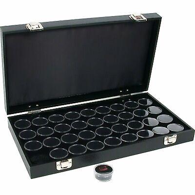 36 Gem Jars Black Display Tray Gemstone Travel Case